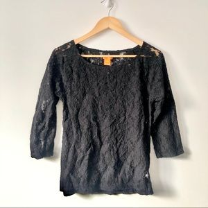 Joe Fresh Black Lace 3/4 Sleeve Shirt